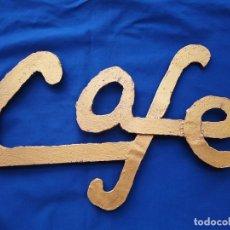"""Artesanía: CARTEL """"CAFE"""", DE HIERRO FORJADO, BRONCE DORADO,VINTAGE. Lote 238762820"""
