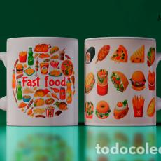 Artesanía: TAZA CON ETIQUETA FAST FOOD MR TAZA MUG CUP. Lote 246396820