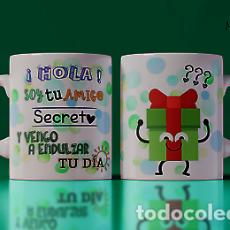Artesanía: HOLA SOY TU AMIO SECRETO Y VENGO A ENDULSAR TU DIA MR TAZA MUG CUP. Lote 246413580