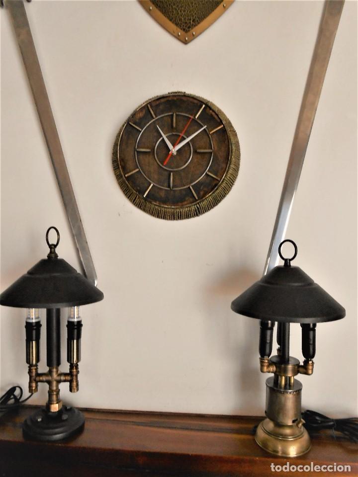Artesanía: Reloj de Pared Artesanal Minimalista - D = 40 cm - Metal, Madera rustica y bambú - Diseño Retro - Foto 5 - 257703790