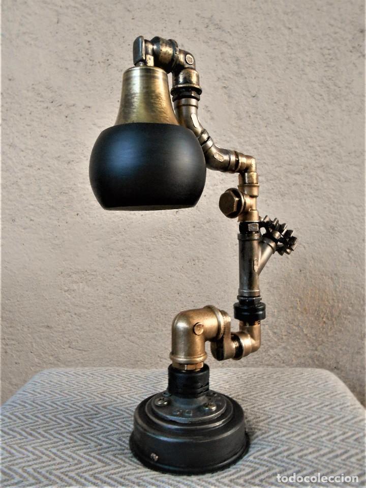 Artesanía: Lámpara de escritorio - Steampunk, Altura 34 cm, Ancho 21 cm - Peso 1,15 kg Incluye Bombilla led - Foto 2 - 257704400
