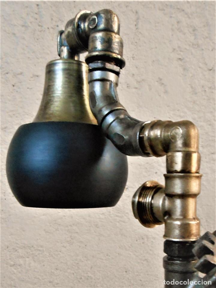 Artesanía: Lámpara de escritorio - Steampunk, Altura 34 cm, Ancho 21 cm - Peso 1,15 kg Incluye Bombilla led - Foto 5 - 257704400