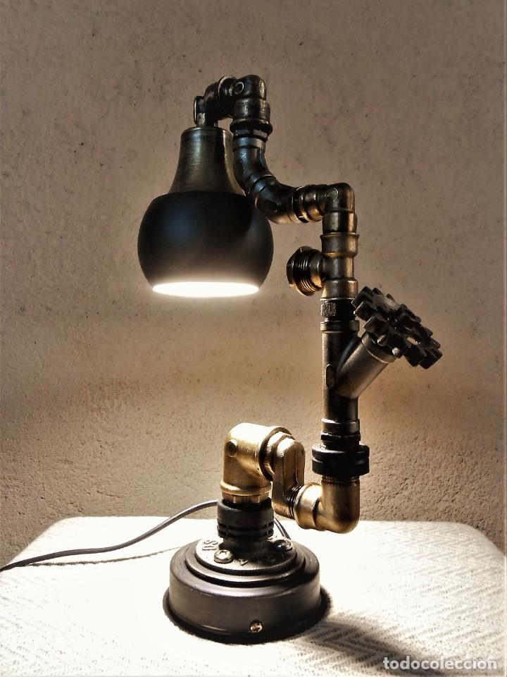 Artesanía: Lámpara de escritorio - Steampunk, Altura 34 cm, Ancho 21 cm - Peso 1,15 kg Incluye Bombilla led - Foto 6 - 257704400