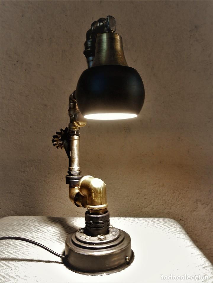 Artesanía: Lámpara de escritorio - Steampunk, Altura 34 cm, Ancho 21 cm - Peso 1,15 kg Incluye Bombilla led - Foto 8 - 257704400