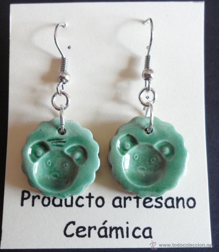 PENDIENTES DE CERÁMICA - CARA DE OSITO (Artesanía - Pendientes)