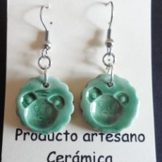Artesanía: PENDIENTES DE CERÁMICA - CARA DE OSITO. Lote 46778740