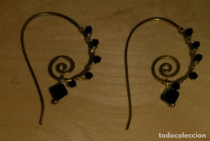 Artesanía: Pendientes diseño con piedras negras poligonales - Largo 5cm - Origen regalo - Sin usar - Foto 4 - 197709902