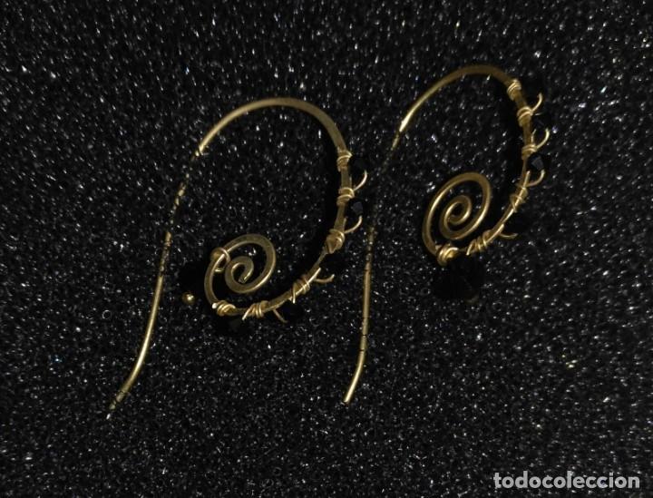 Artesanía: Pendientes diseño con piedras negras poligonales - Largo 5cm - Origen regalo - Sin usar - Foto 5 - 197709902