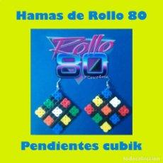 Artesanía: PENDIENTES DE HAMAS. ÚNICOS. CUBO DE RUBIK. LOS CUBIK DE ROLLO AÑOS 80. Lote 205863282