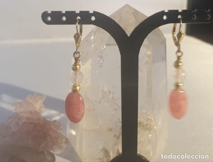 Artesanía: pendientes rodocrosita, cuarzo rosa y oro laminado - Foto 2 - 241024770