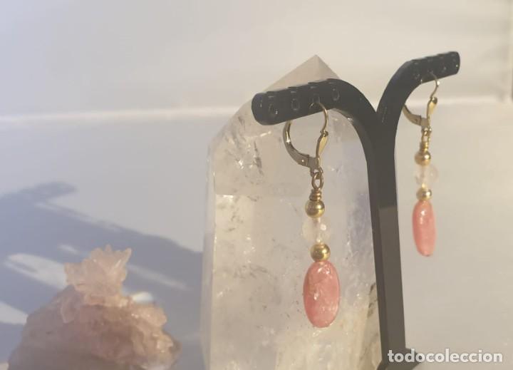 Artesanía: pendientes rodocrosita, cuarzo rosa y oro laminado - Foto 3 - 241024770