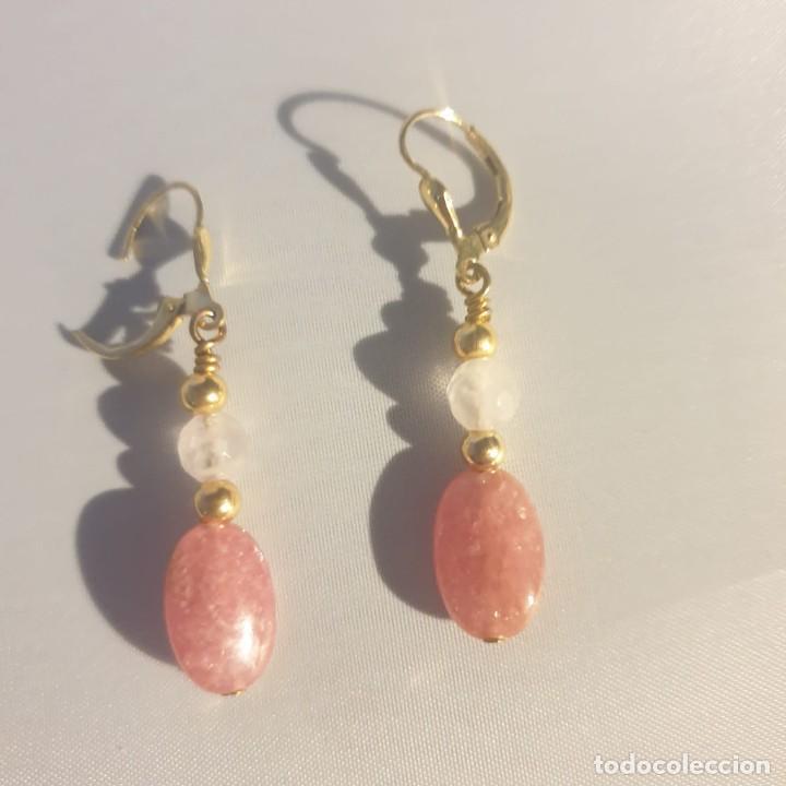 Artesanía: pendientes rodocrosita, cuarzo rosa y oro laminado - Foto 4 - 241024770
