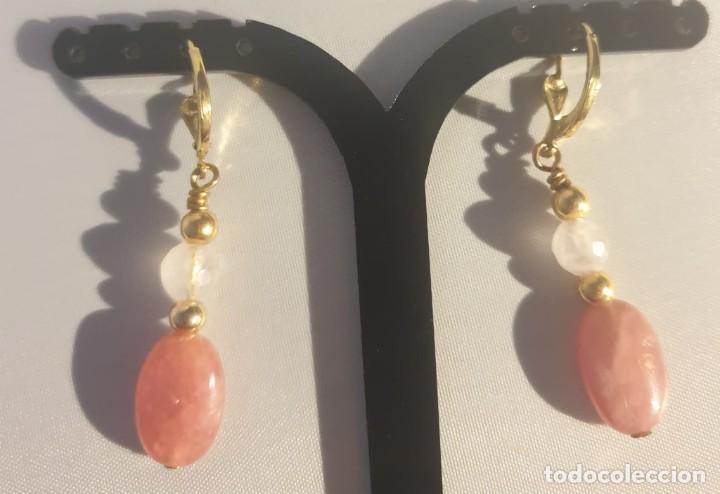 Artesanía: pendientes rodocrosita, cuarzo rosa y oro laminado - Foto 5 - 241024770