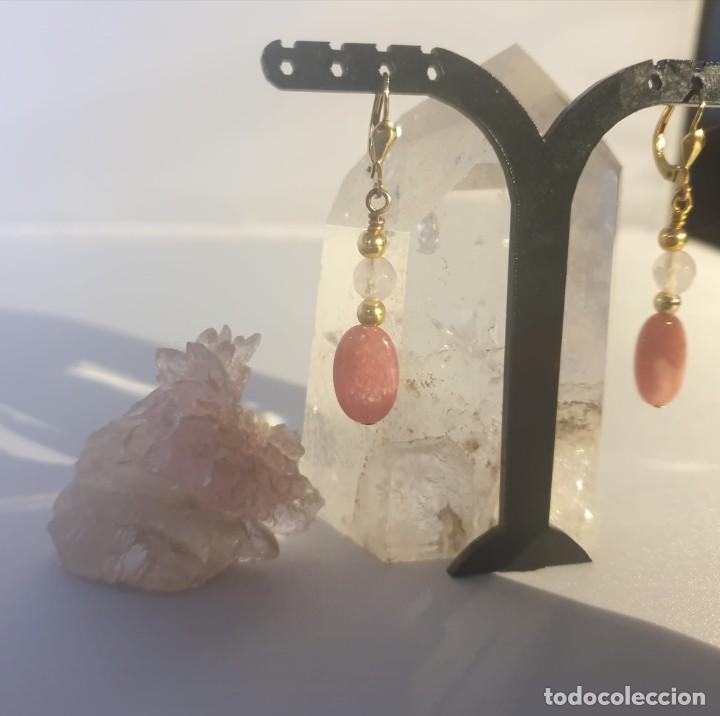Artesanía: pendientes rodocrosita, cuarzo rosa y oro laminado - Foto 6 - 241024770