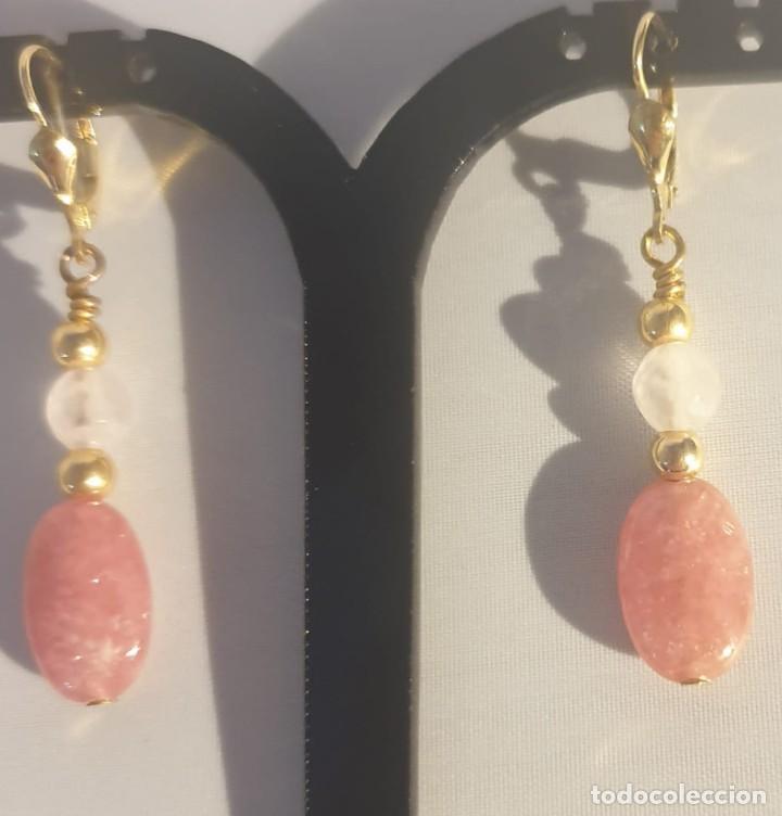 Artesanía: pendientes rodocrosita, cuarzo rosa y oro laminado - Foto 7 - 241024770