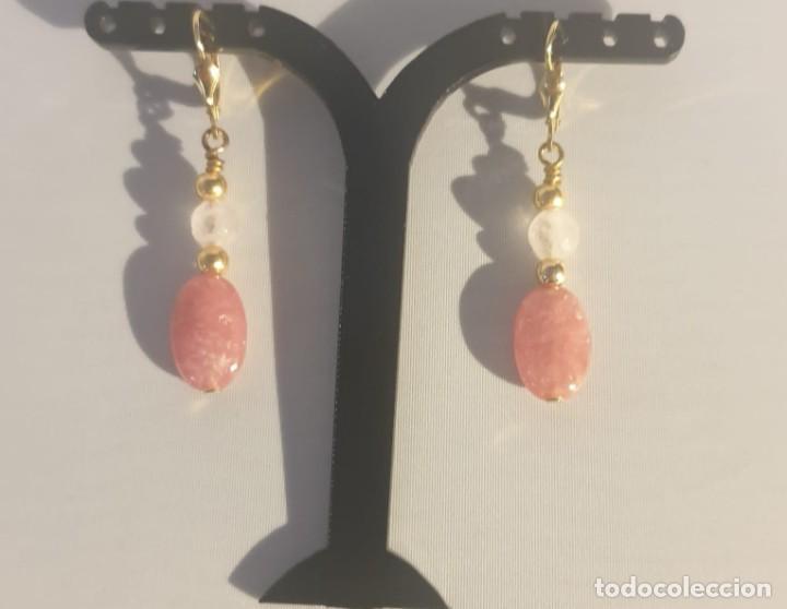 Artesanía: pendientes rodocrosita, cuarzo rosa y oro laminado - Foto 8 - 241024770