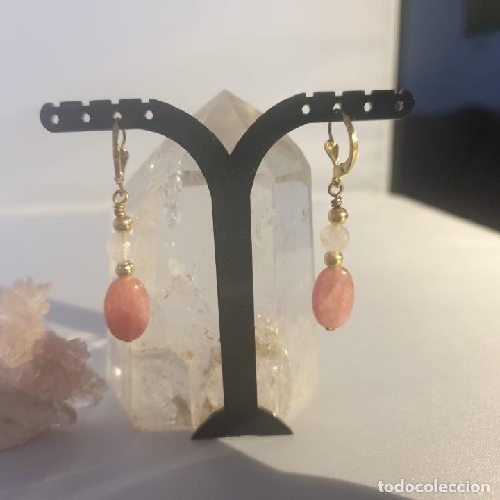 Artesanía: pendientes rodocrosita, cuarzo rosa y oro laminado - Foto 9 - 241024770