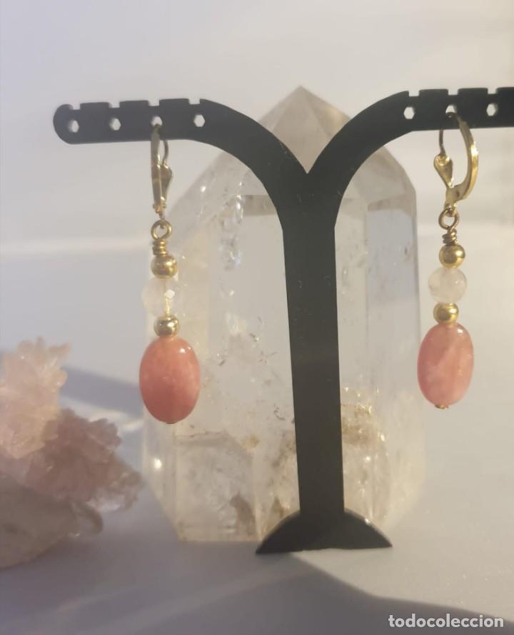 Artesanía: pendientes rodocrosita, cuarzo rosa y oro laminado - Foto 10 - 241024770
