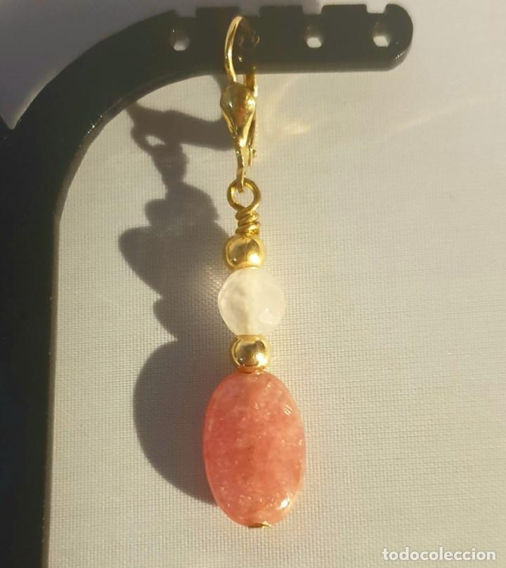 Artesanía: pendientes rodocrosita, cuarzo rosa y oro laminado - Foto 12 - 241024770