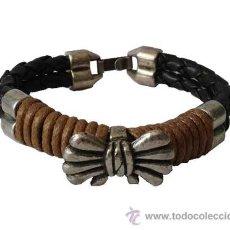 Artesanía: PULSERA DOS CORDONES TRENZADO,CON LAZO METAL. Lote 51650318