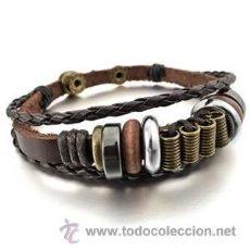 Artesanía: CUERO PULSERA BRAZALETE TRENZADA HOMBRE. Lote 53307526