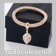 Artesanía: PULSERA Y COLGANTE DE HOJA VINTAGE DE ORO AMARILLO DE 18 KILATES LAMINADO - PESA 6,72 GRA - Nº3112. Lote 150684337