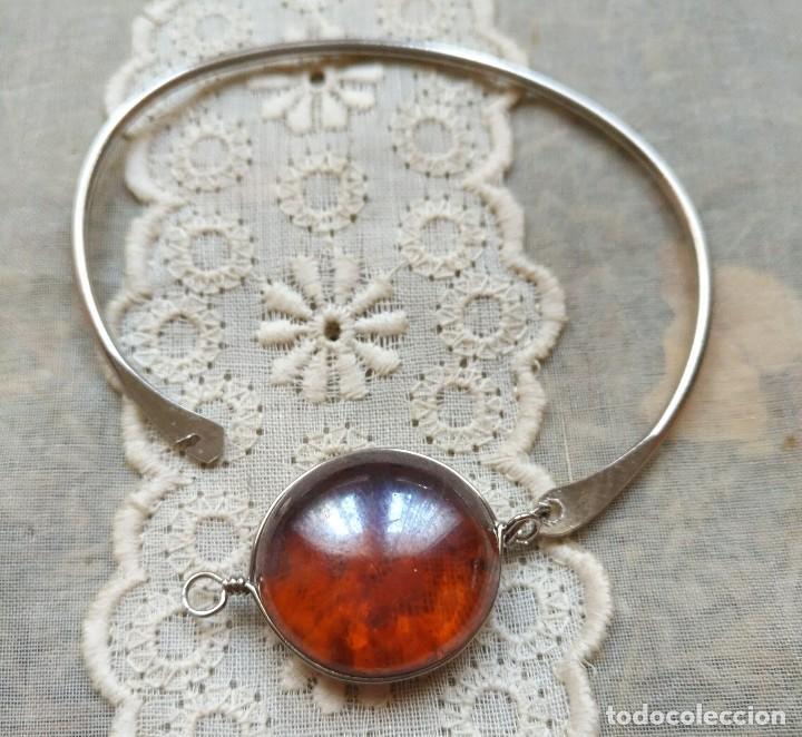Artesanía: Pulsera / brazalete metal cierre superior con cristal naranja/marrón claro - 6cm x 4.50cm Sin uso - Foto 3 - 128375167