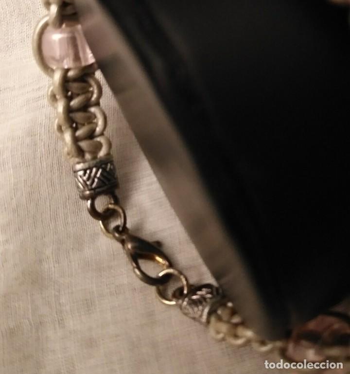 Artesanía: Pol 2 Pulsera cuero gris trenzado con cristales rosa pálido y cierre mosquetón - Foto 3 - 130188891