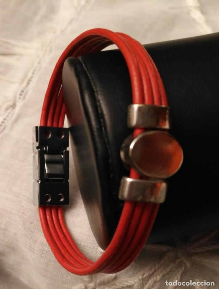 Artesanía: Pol 8 Pulsera cuero naranja con tres piezas acero y cierre acero - Foto 2 - 130196427