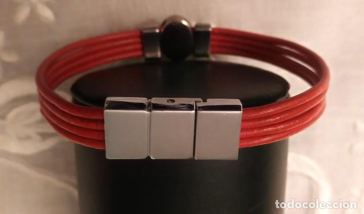 Artesanía: Pol 8 Pulsera cuero naranja con tres piezas acero y cierre acero - Foto 4 - 130196427