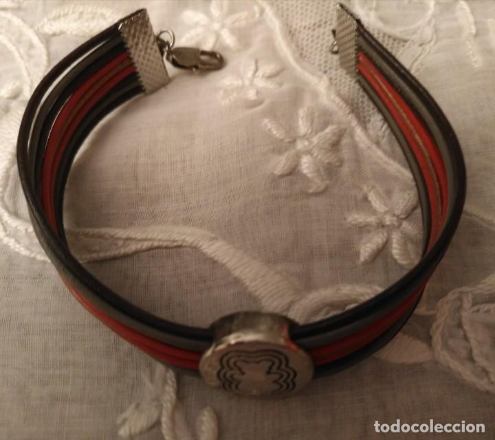 Artesanía: Pol 9 Pulsera cuero marrón, negro y naranja con cierre mosquetón - Foto 3 - 130197199