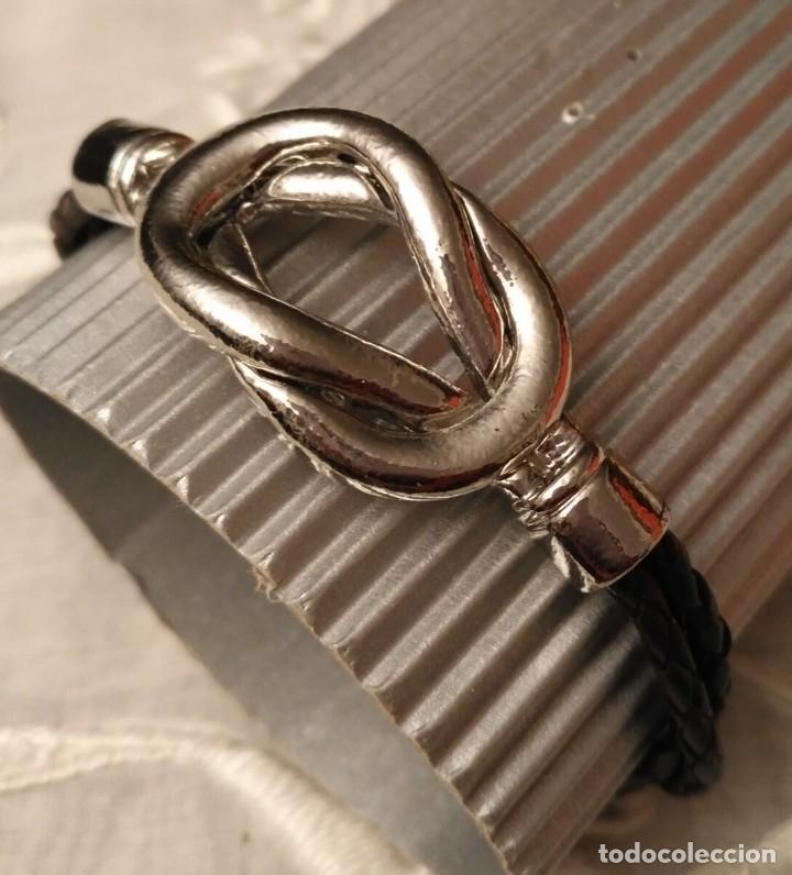 Artesanía: Pol 12 Pulsera 2 tiras cuero negro trenzado con cierre y detalle lazo marinero acero - Foto 6 - 193983191
