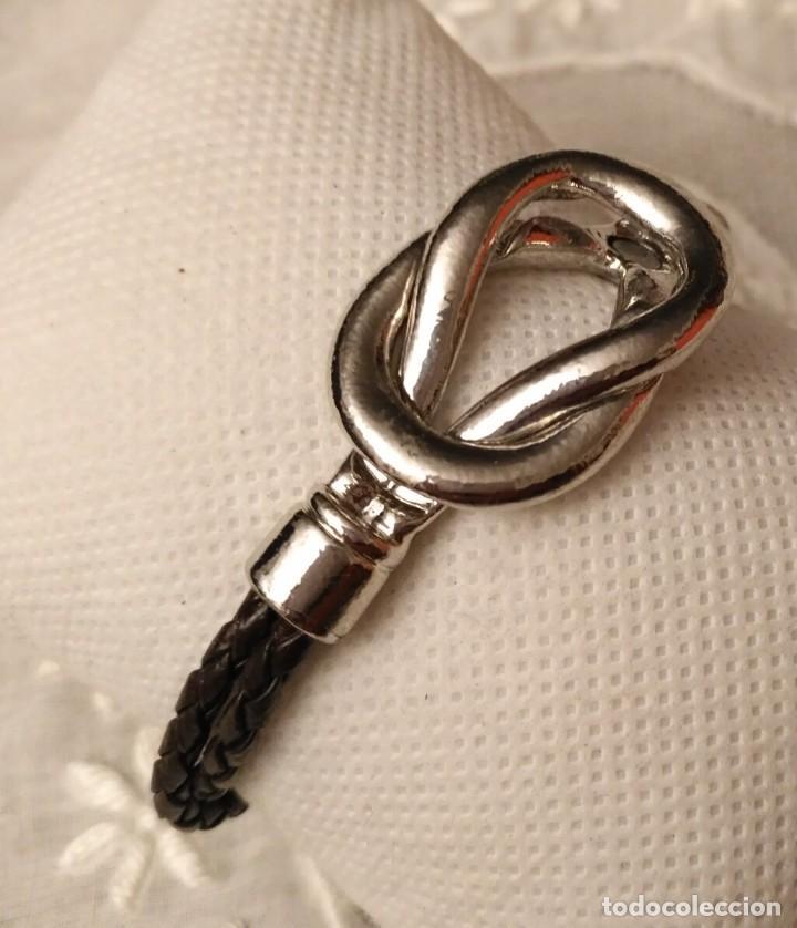 Artesanía: Pol 12 Pulsera 2 tiras cuero negro trenzado con cierre y detalle lazo marinero acero - Foto 3 - 193983191