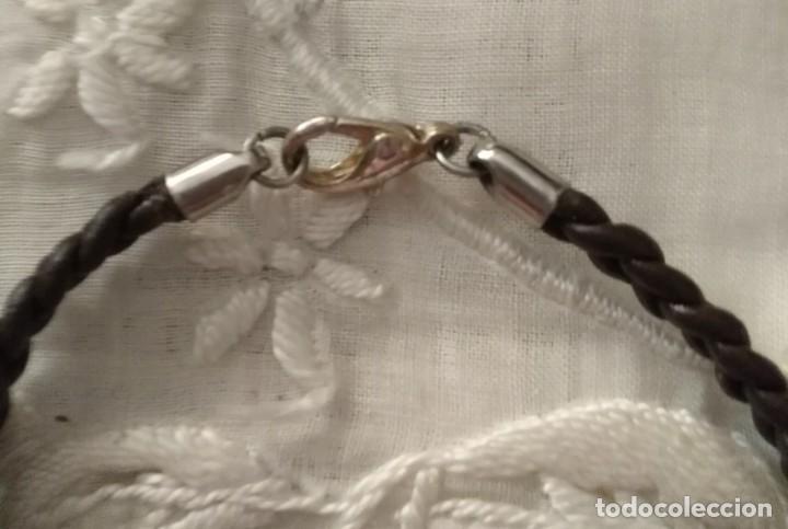 Artesanía: Pol 18 Pulsera cuero trenzada marrón - Cierre mosquetón - 18cm largo - Foto 3 - 132071546