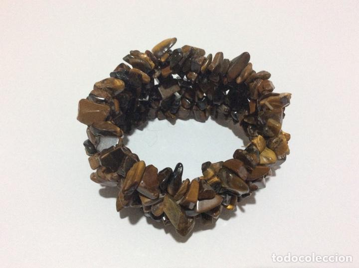 Artesanía: Brazalete pulsera ojo de tigre. Piedra natural. Elástica. Ancha - Foto 3 - 176594564