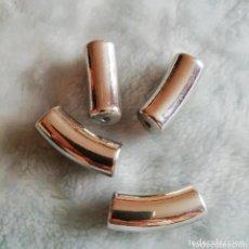 Artesanía: 4 X TERMINALES PLATEADOS DE 3 CM PARA MONTAJE. ABALORIOS. Lote 205803405