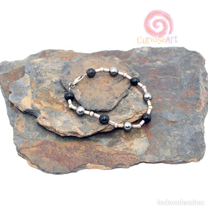 Artesanía: Pulsera artesanal de cuentas de Obsidiana y perlas de Swarovski color gris - Foto 2 - 156554366