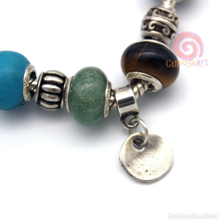 Artesanía: Pulsera artesanal con cuentas tipo Pandora de siete piedras y entrepiezas de zamak bañado en plata - Foto 2 - 156767698