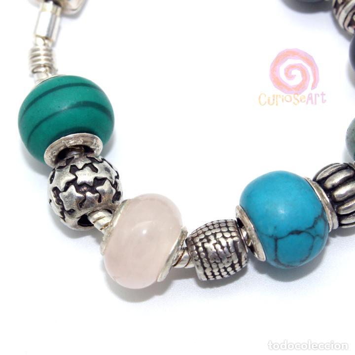 Artesanía: Pulsera artesanal con cuentas tipo Pandora de siete piedras y entrepiezas de zamak bañado en plata - Foto 3 - 156767698