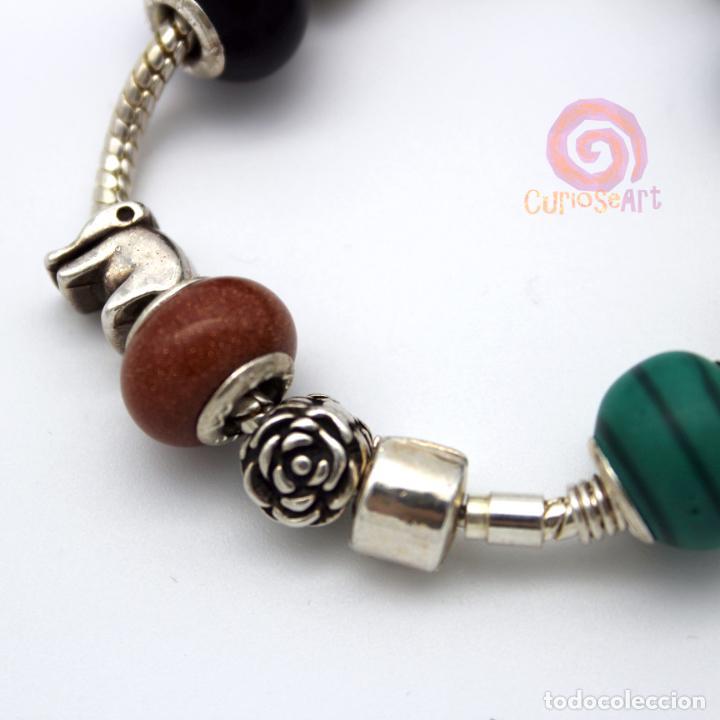 Artesanía: Pulsera artesanal con cuentas tipo Pandora de siete piedras y entrepiezas de zamak bañado en plata - Foto 4 - 156767698