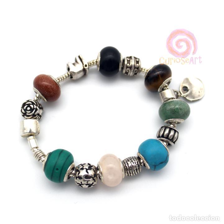 Artesanía: Pulsera artesanal con cuentas tipo Pandora de siete piedras y entrepiezas de zamak bañado en plata - Foto 5 - 156767698