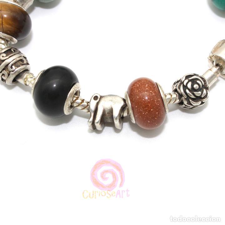 Artesanía: Pulsera artesanal con cuentas tipo Pandora de siete piedras y entrepiezas de zamak bañado en plata - Foto 6 - 156767698