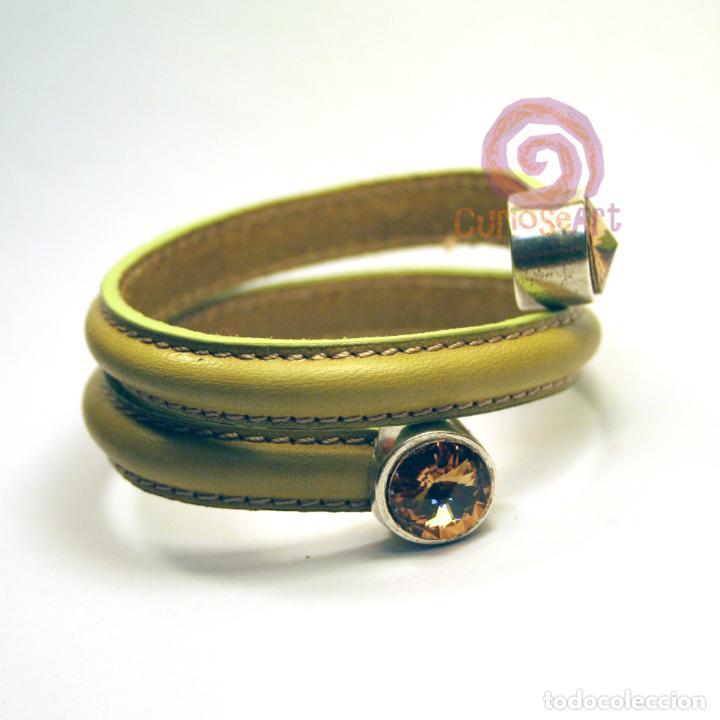 Artesanía: Pulsera artesanal de cuero media caña dos vueltas color pistacho con terminales cristal Swarovski - Foto 2 - 159896502
