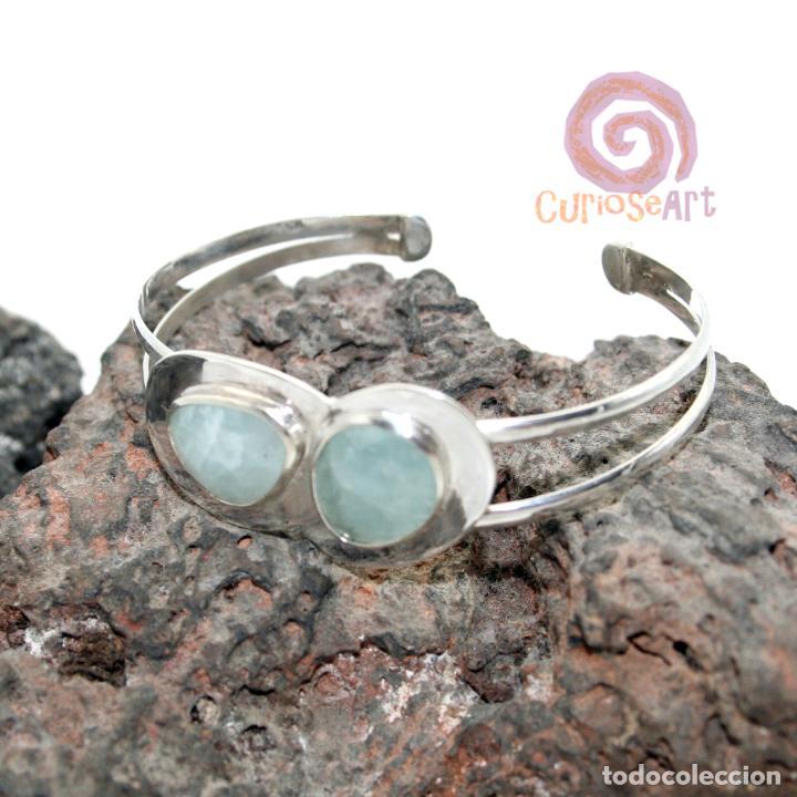 Artesanía: Pulsera de plata con dos piedras naturales AGUAMARINA - Foto 3 - 211436797