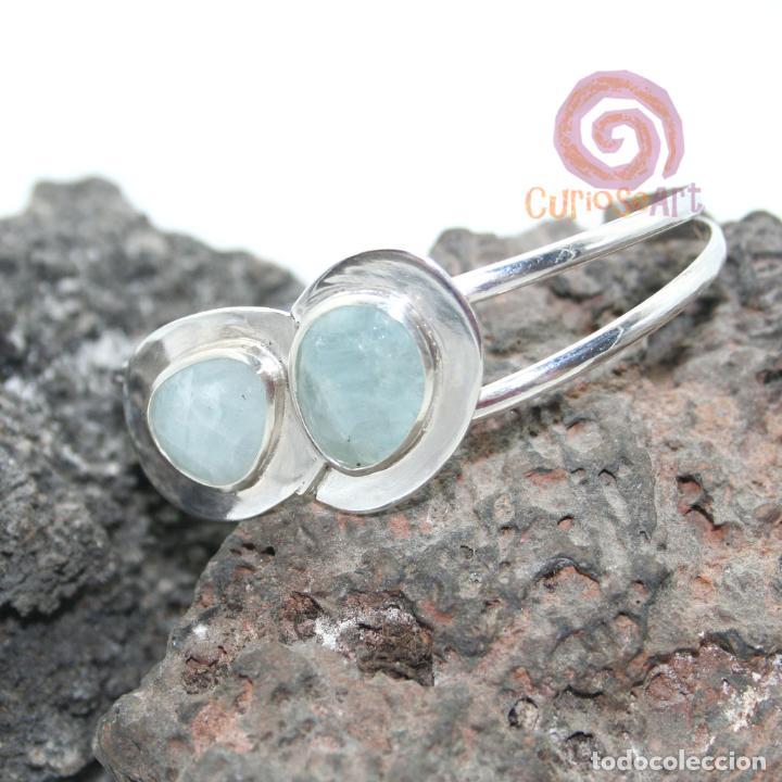 Artesanía: Pulsera de plata con dos piedras naturales AGUAMARINA - Foto 4 - 211436797