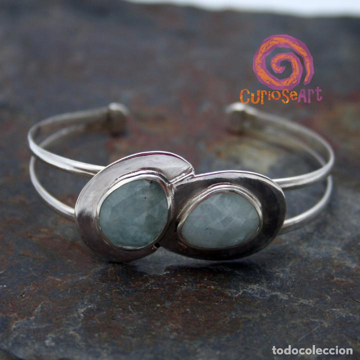 Artesanía: Pulsera de plata con dos piedras naturales AGUAMARINA - Foto 6 - 211436797