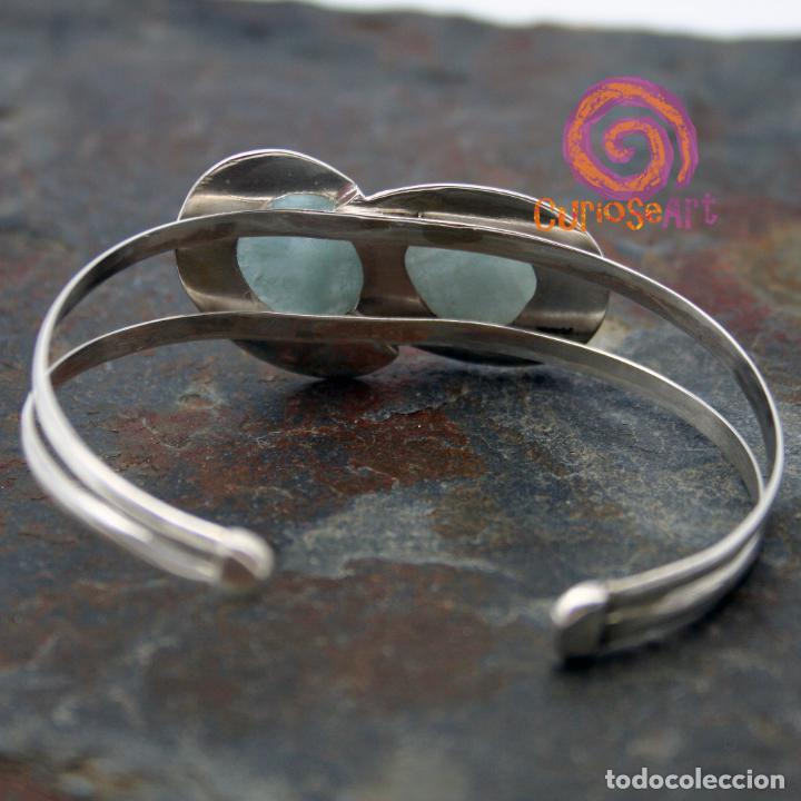 Artesanía: Pulsera de plata con dos piedras naturales AGUAMARINA - Foto 7 - 211436797