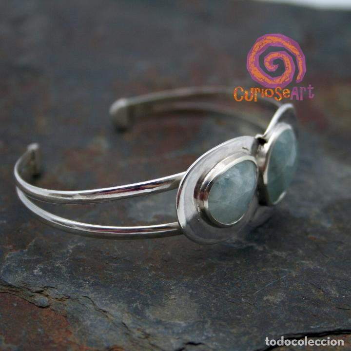 Artesanía: Pulsera de plata con dos piedras naturales AGUAMARINA - Foto 8 - 211436797