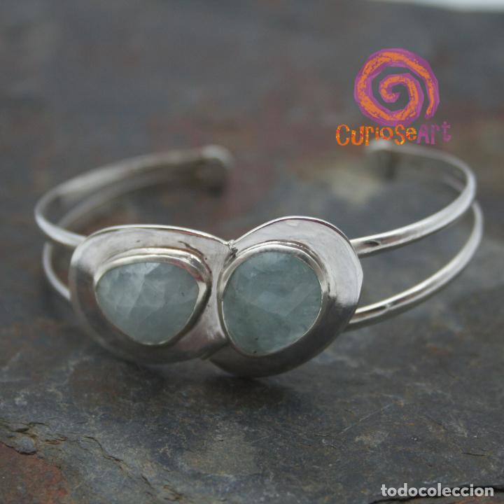 Artesanía: Pulsera de plata con dos piedras naturales AGUAMARINA - Foto 9 - 211436797