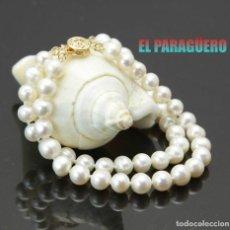 Artesanía: PULSERA DOBLE DE PERLAS BLANCAS CON CIERRE ORO LEE DENTRO - PESO 25 GRA - Nº3. Lote 213368573